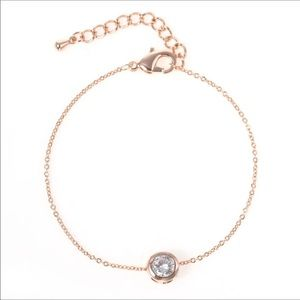 Jewelry - Rose gold plated simple chain bracelet w/crystal